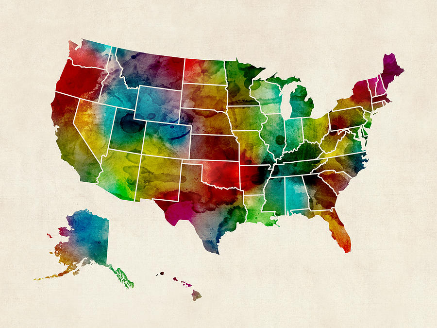 United States Watercolor Map Digital Art by Michael Tompsett
