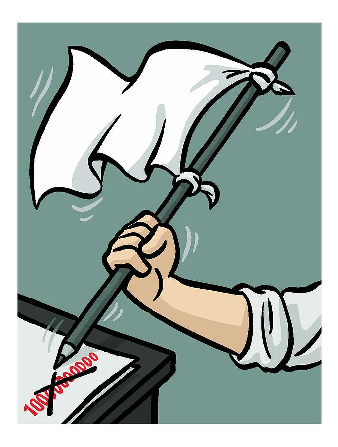 Waving The White Flag Drawing by Christoph Niemann