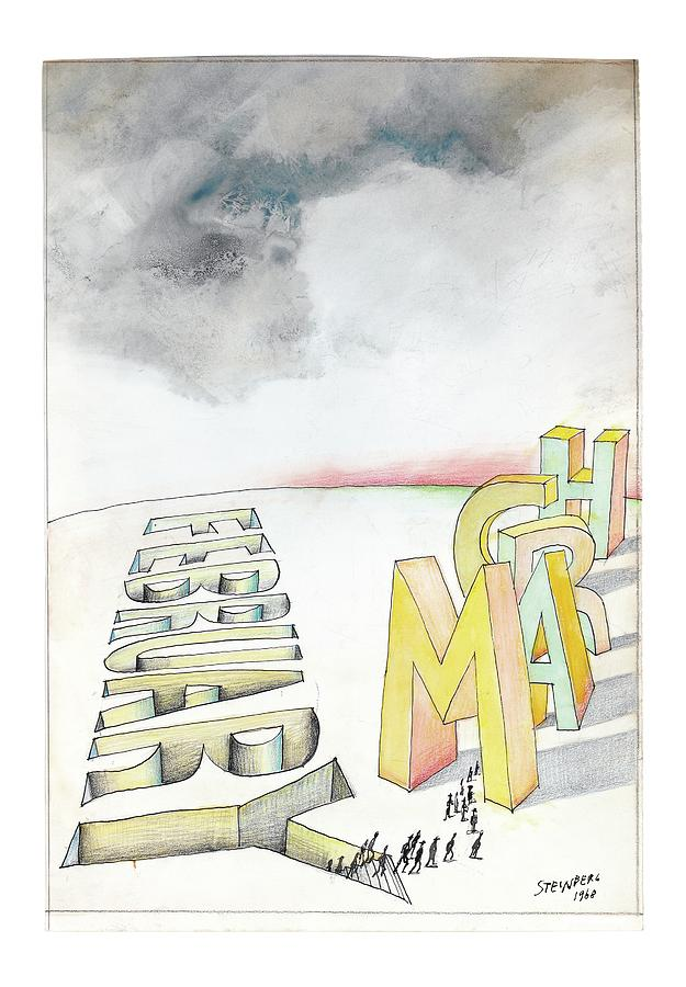 February To March Drawing by Saul Steinberg