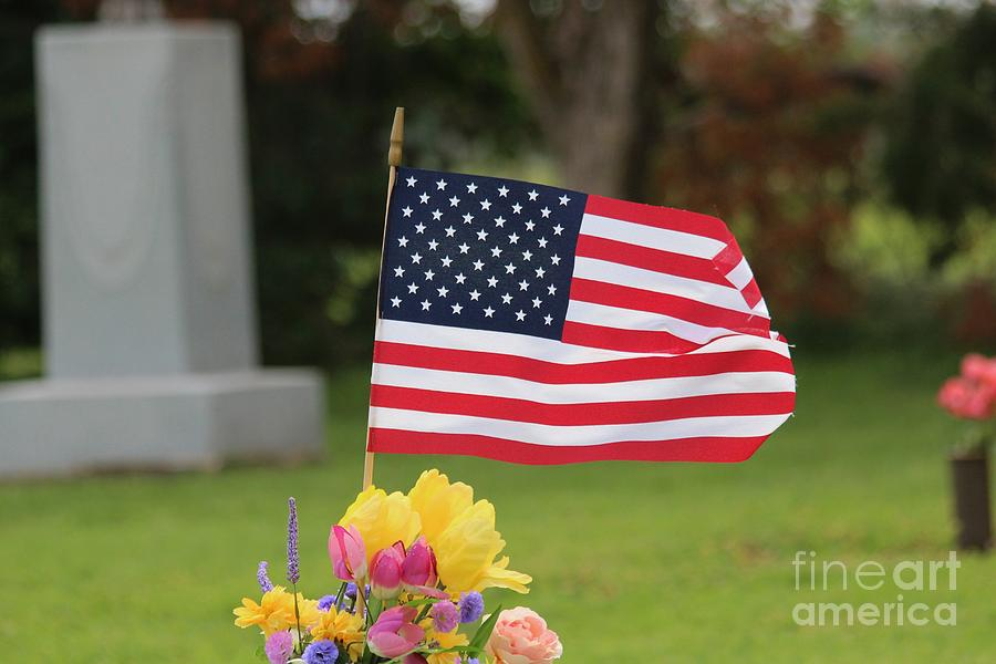 Flag Photograph - Us Flag On Memorial Day by Robert D  Brozek