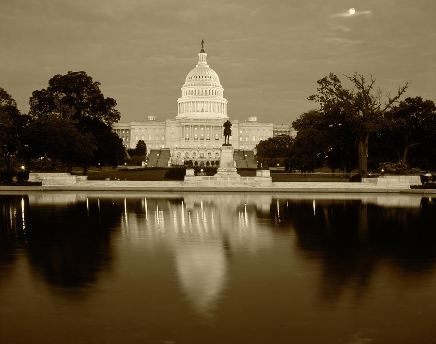 Architecture Photograph - Usa, Washington Dc, Capitol Building by Walter Bibikow