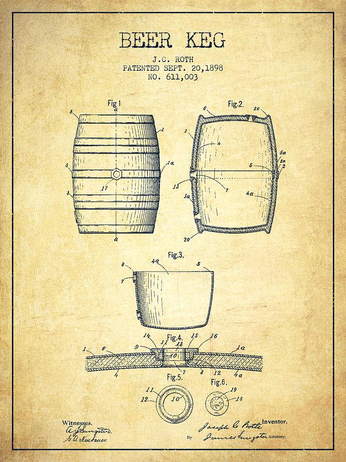 Beer keg patent drawing from 1898 vintage digital art by aged pixel beer keg digital art beer keg patent drawing from 1898 vintage by aged pixel malvernweather Gallery