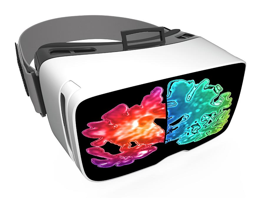 Advanced Photograph - Virtual Reality Headset In Science by Alfred Pasieka/science Photo Library