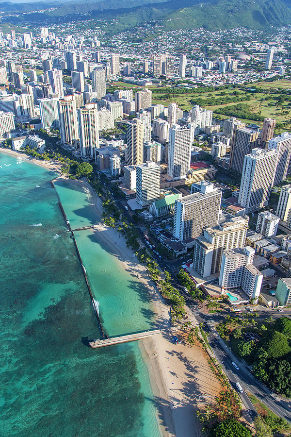 Aerial Photograph - Waikiki, Oahu, Hawaii by Douglas Peebles