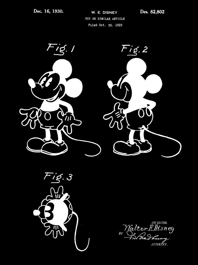 Mickey Mouse Digital Art - Walt Disney Mickey Mouse Patent 1929 - Black by Stephen Younts