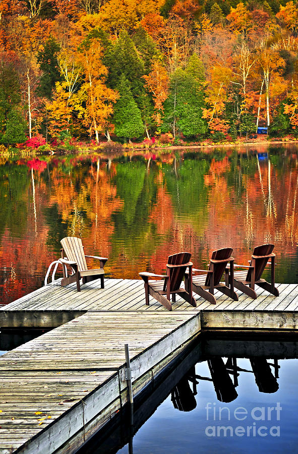 Lake Photograph - Autumn lake with wooden dock by Elena Elisseeva