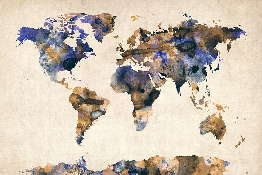 Map Of The World Digital Art - World Map Watercolor by Michael Tompsett