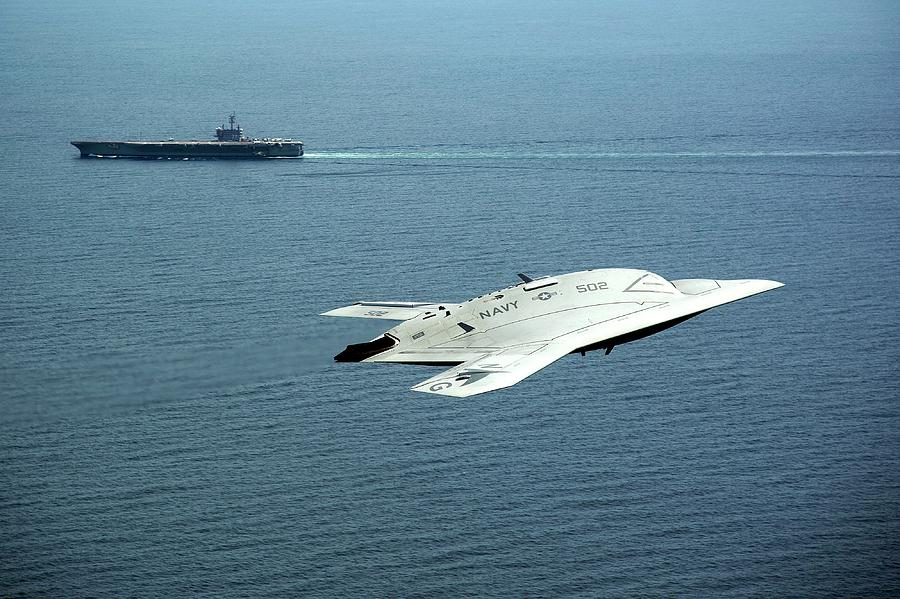 X-47b Photograph - X-47b Unmanned Combat Air Vehicle by Us Air Force
