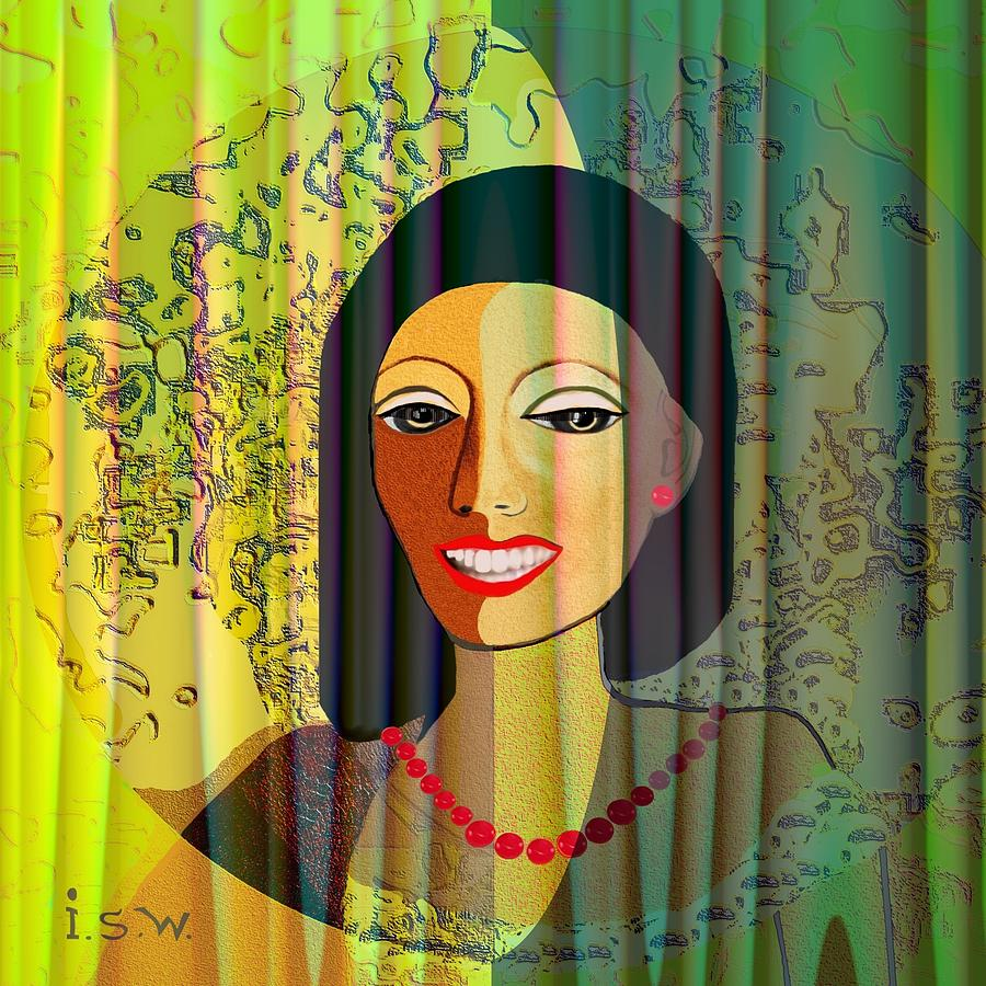 Woman Digital Art - 416 - Lady With Nice Teeth by Irmgard Schoendorf Welch