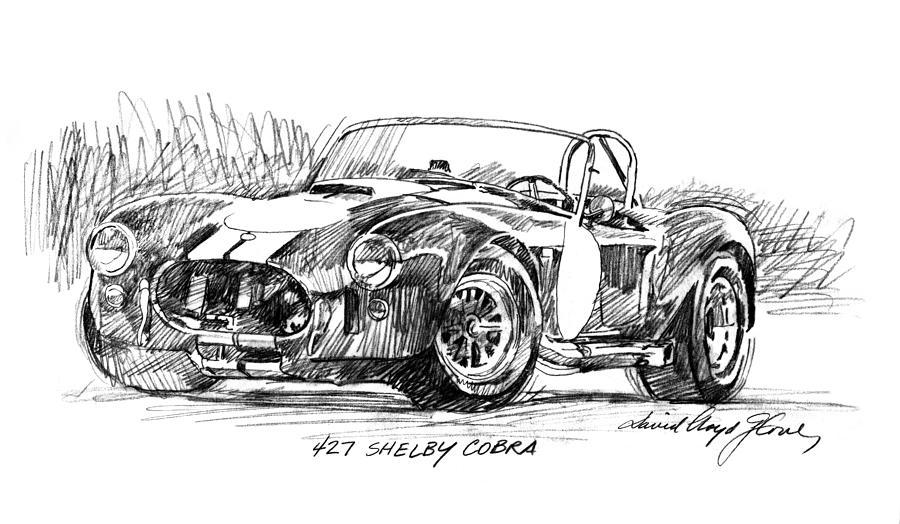 Drawing Drawing - 427 Shelby Cobra by David Lloyd Glover