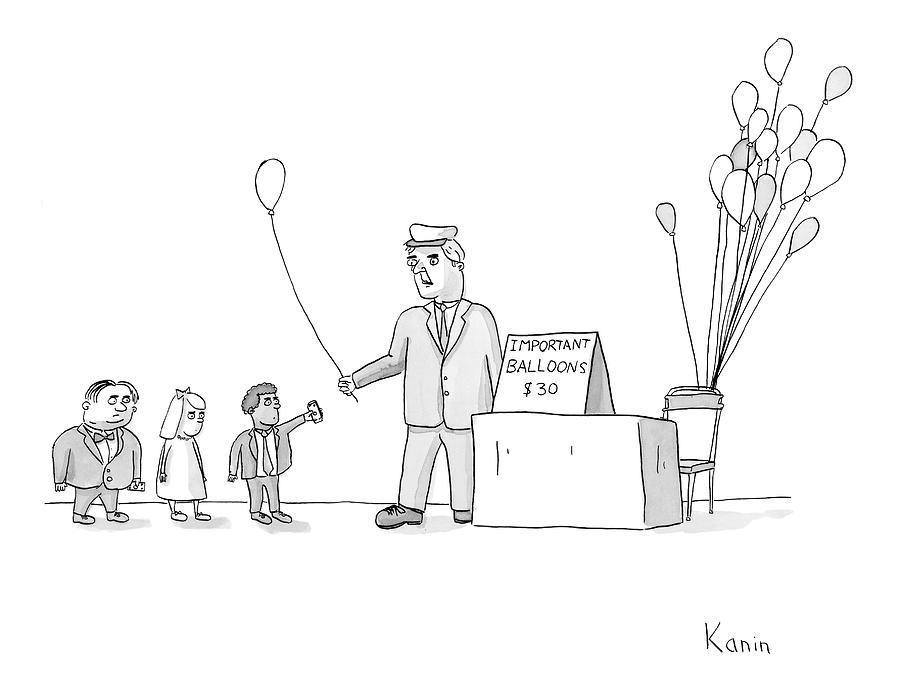 Balloons Drawing - New Yorker November 27th, 2006 by Zachary Kanin
