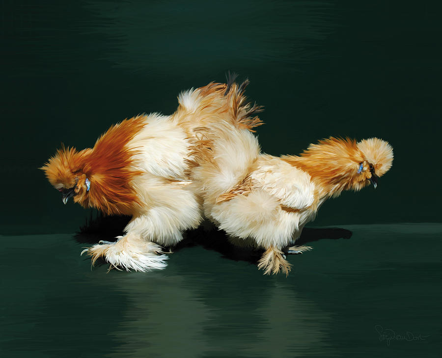 Chicken Digital Art - 45. Sand Silkies by Sigrid Van Dort