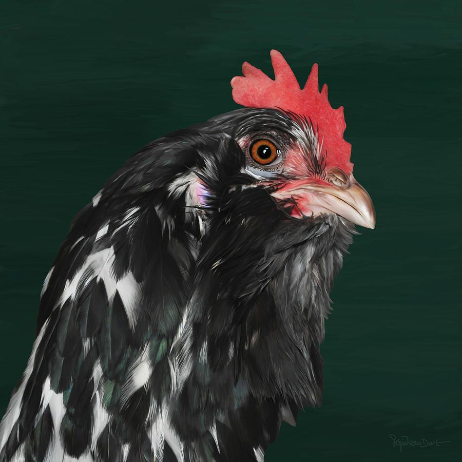 Chicken Digital Art - 47. Bearded hen by Sigrid Van Dort