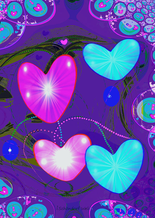 Abstract Painting - 472 -  Valentine Hearts  ... by Irmgard Schoendorf Welch