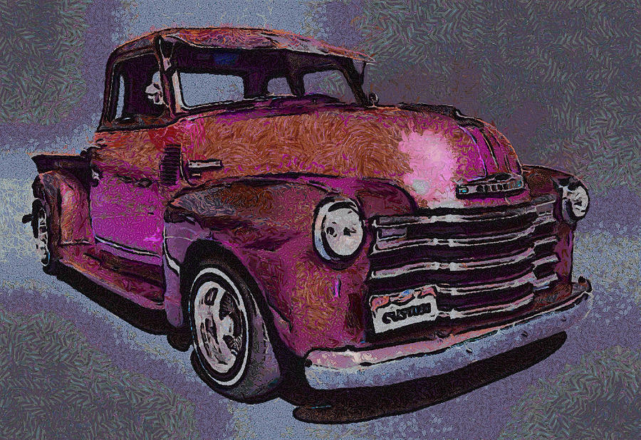 48 Chevy Truck Pink Digital Art by Ernie Echols