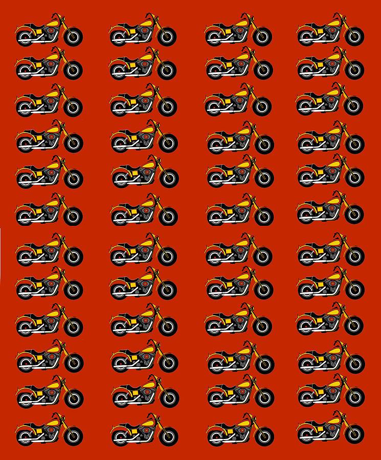 48 Harlies On Dark Red Digital Art by Asbjorn Lonvig