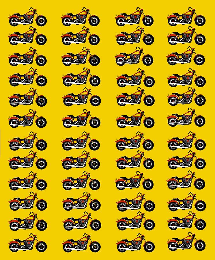 48 Harlies On Dark Yellow Digital Art by Asbjorn Lonvig