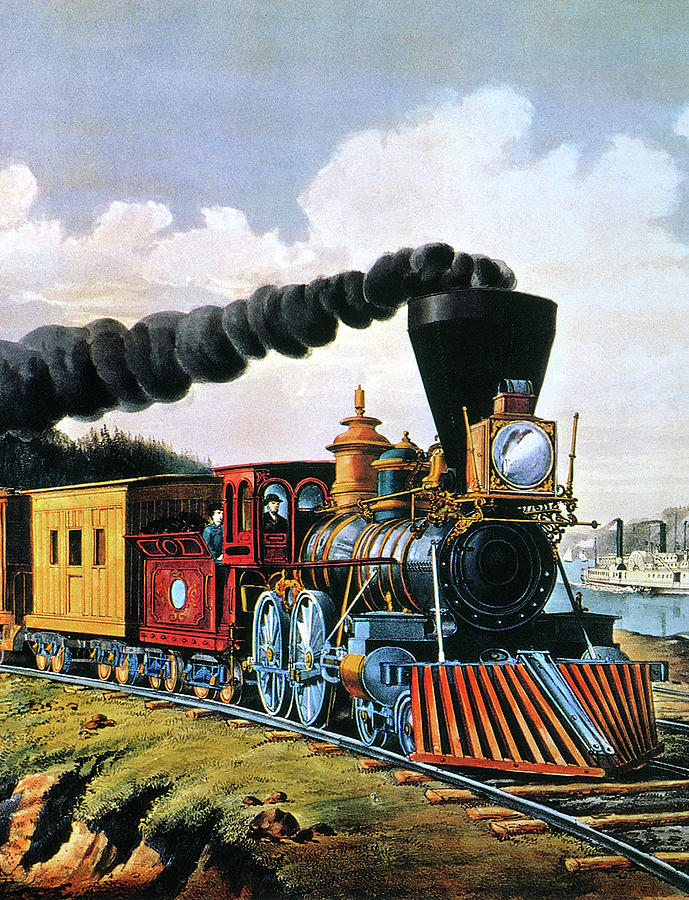 4gcr235american Express Train, 1864 Painting by Granger