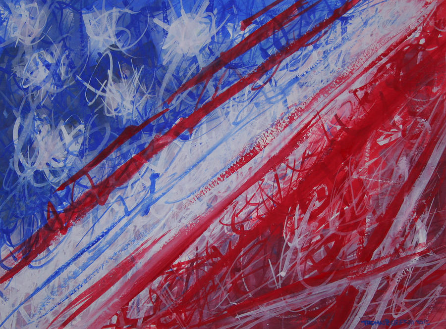 America Painting - 4th July Abstract Expressionism by Thomas Griffith