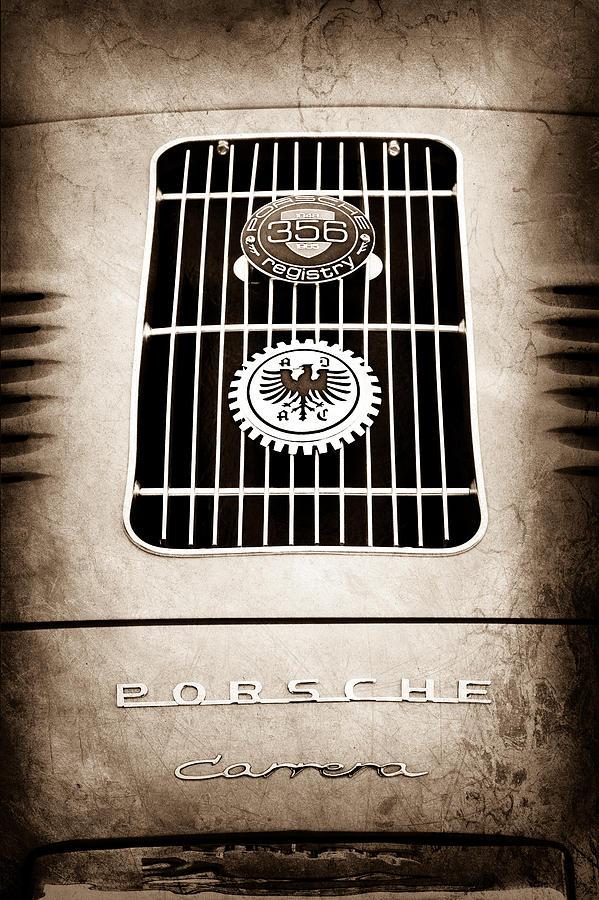1960 Volkswagen Vw Porsche 356 Carrera Gs Gt Replica Emblem Photograph - 1960 Volkswagen Vw Porsche 356 Carrera Gs Gt Replica Emblem by Jill Reger