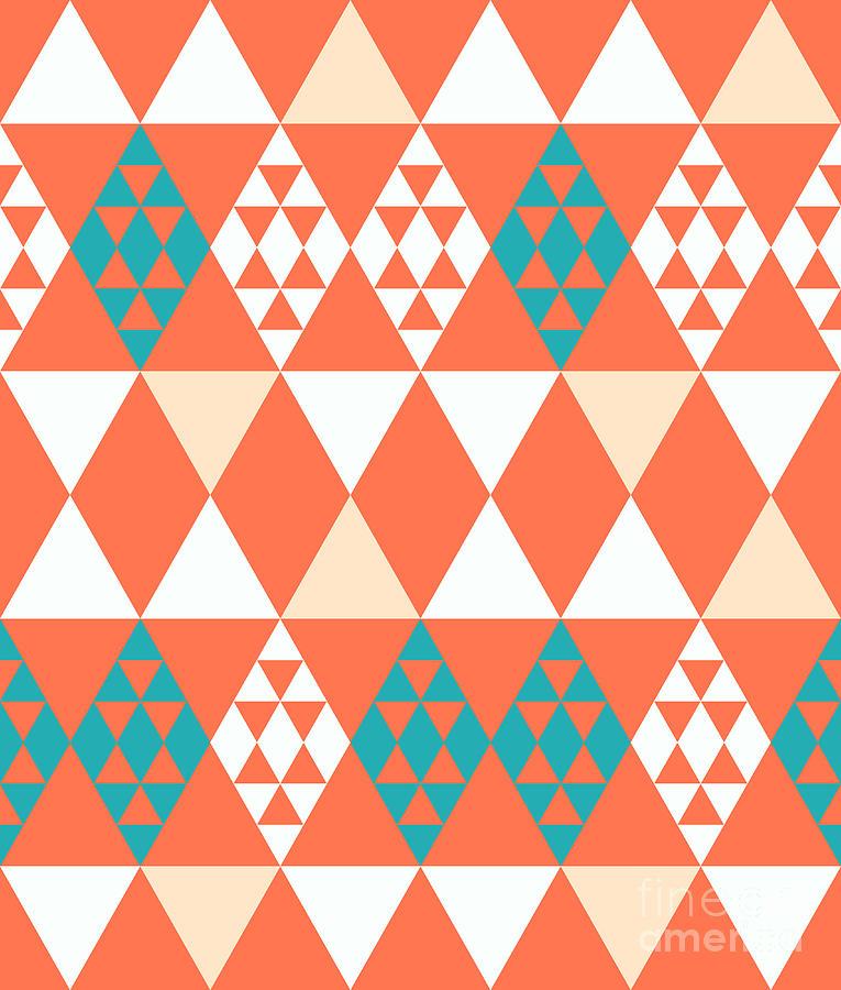Pink Digital Art - Abstract Retro Pattern. Vector by Artsandra