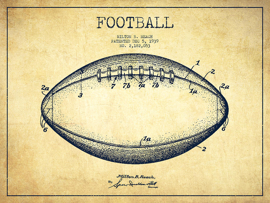 American Football Patent Drawing From 1939 Digital Art By Aged Pixel
