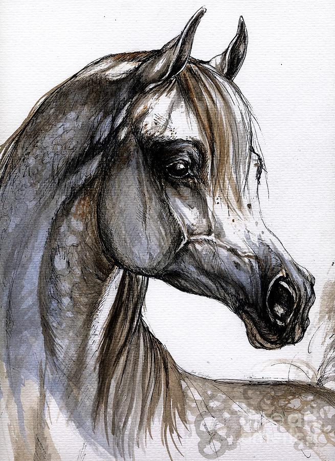 Horse Painting - Arabian Horse by Angel  Tarantella