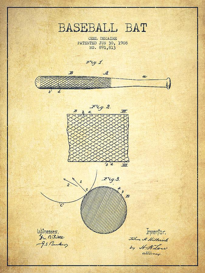 Baseball Bat Patent Drawing From 1904 Drawing