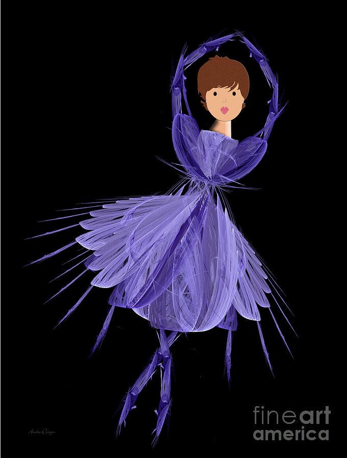 Ballerina Digital Art - 5 Blue Ballerina by Andee Design