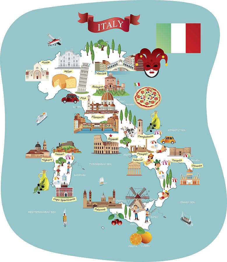 Cartoon Map Of Italy Drawing by Drmakkoy