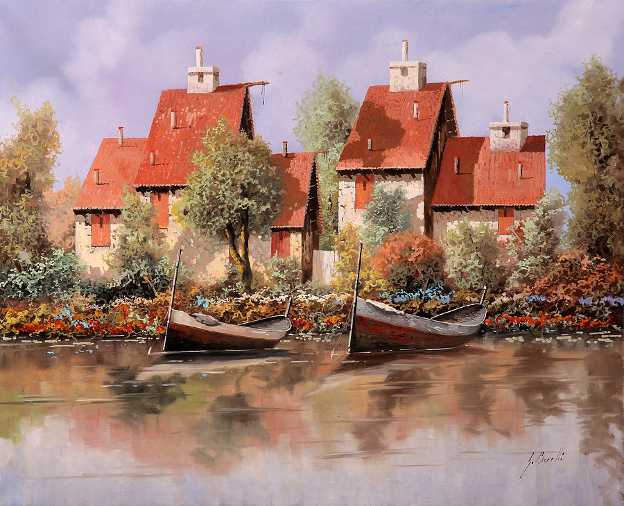 House Painting - 5 Case E 2 Barche by Guido Borelli