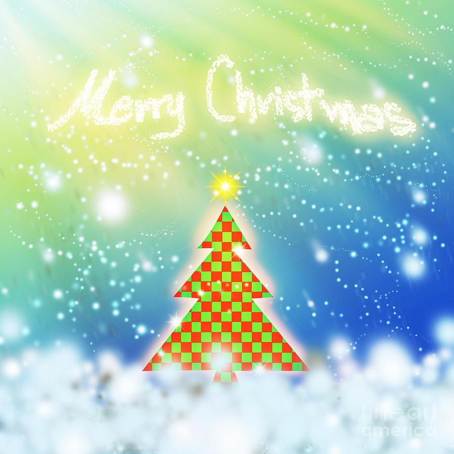 Backdrop Digital Art - Chess Style Christmas Tree by Atiketta Sangasaeng