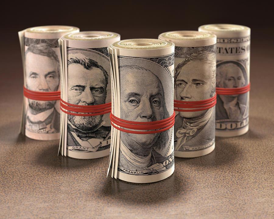 Artwork Photograph - Dollar Bills Rolled Up by Ktsdesign