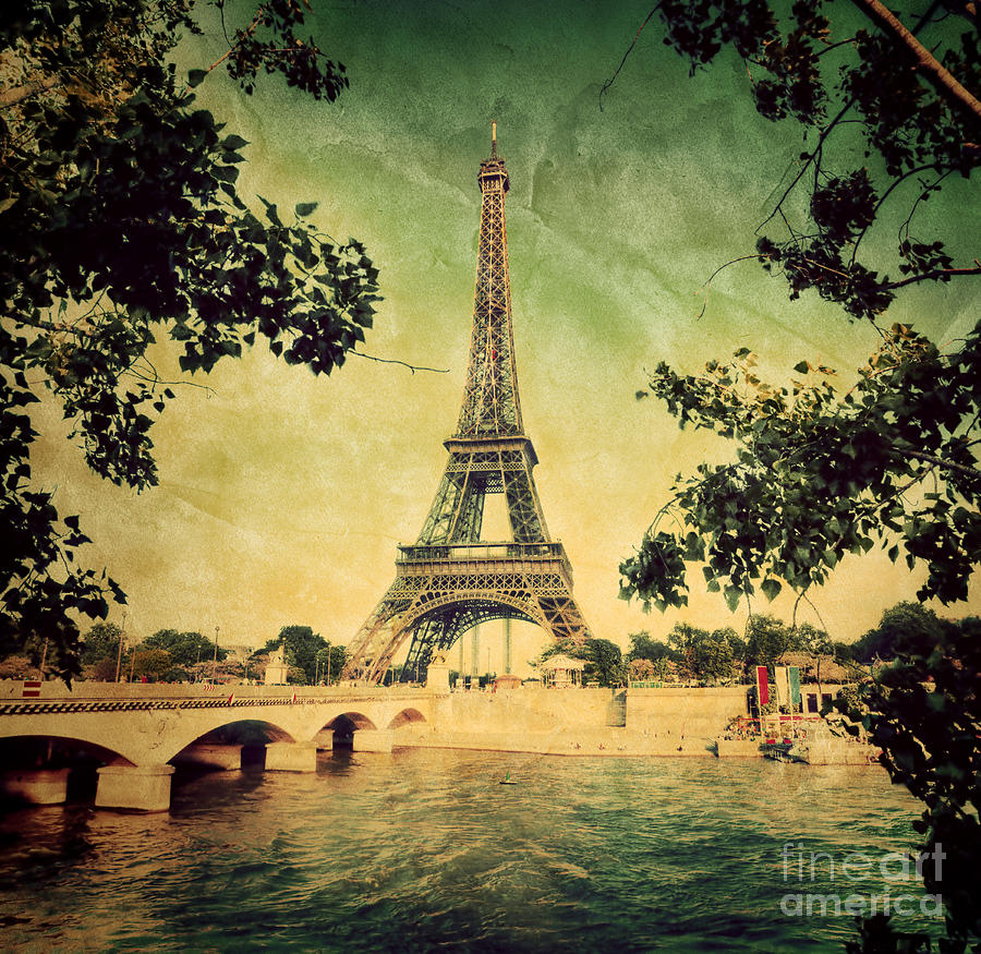 Eiffel Tower And Bridge On Seine River In Paris Photograph by Michal ...
