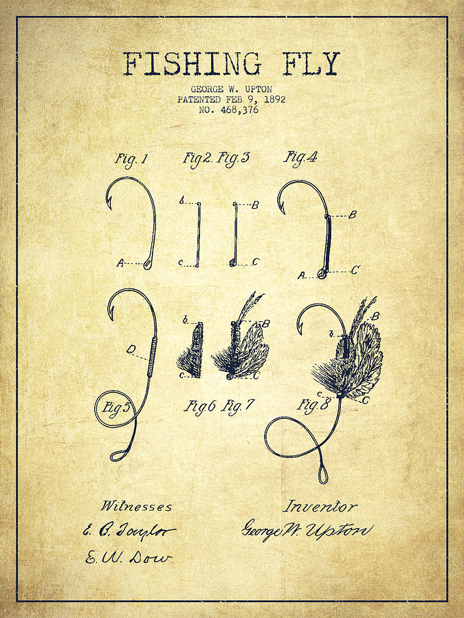 Fishing Fly Digital Art - Fishing Fly Patent Drawing From 1892 by Aged Pixel
