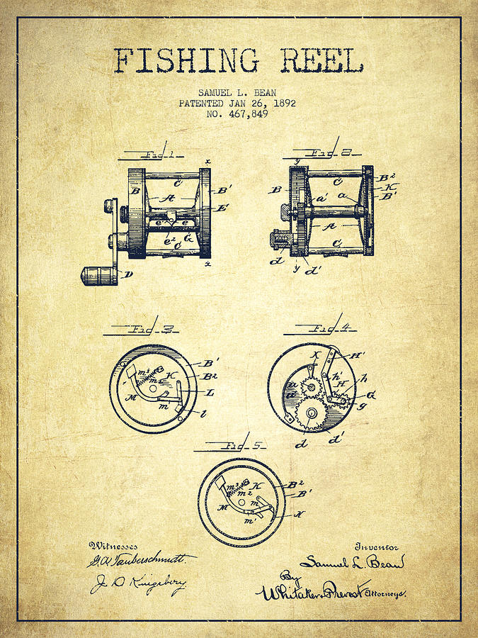 Fishing Reel Drawing - Fishing Reel Patent From 1892 by Aged Pixel
