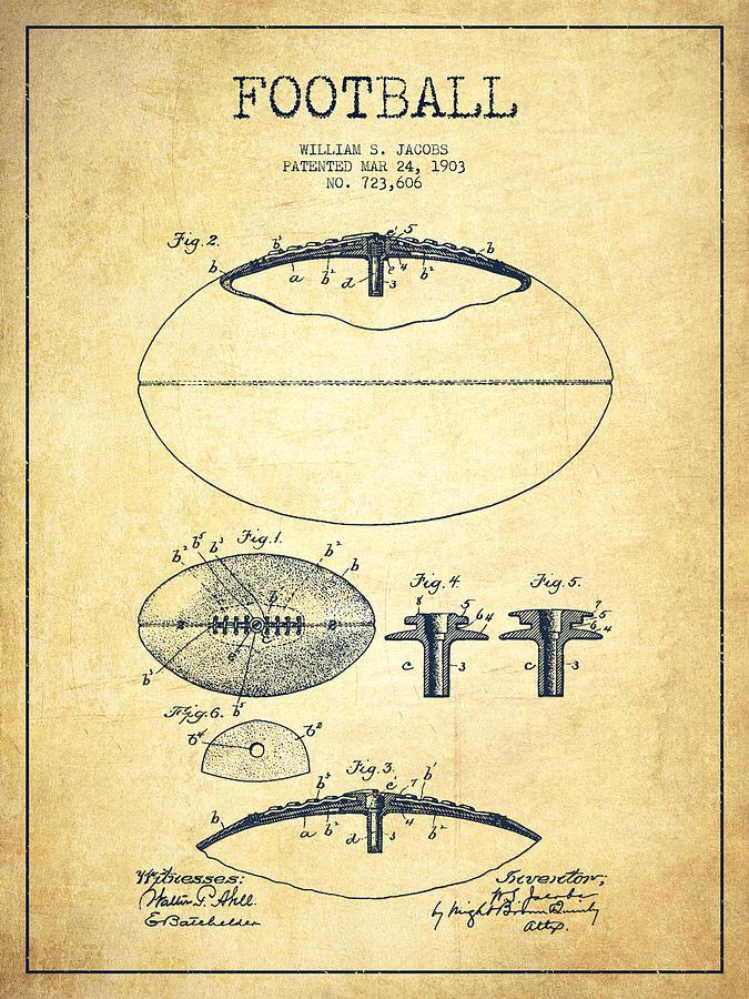 Football Patent Drawing From 1903 Digital Art