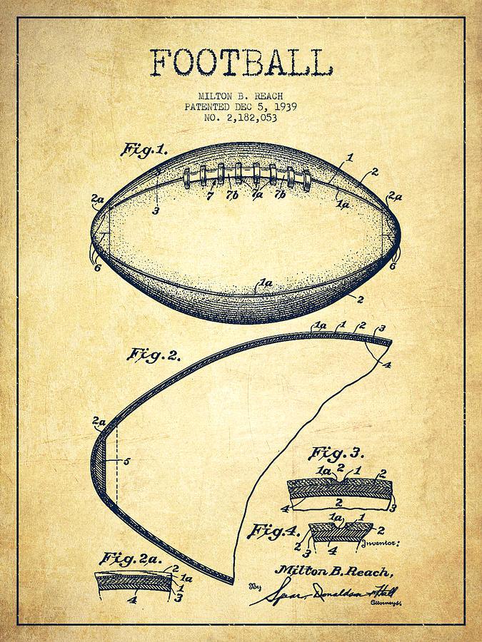 Football Patent Drawing From 1939 Digital Art