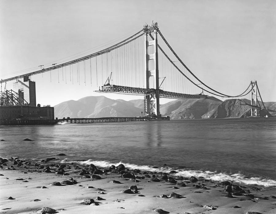 1937 Photograph - Golden Gate Bridge by Underwood Archives