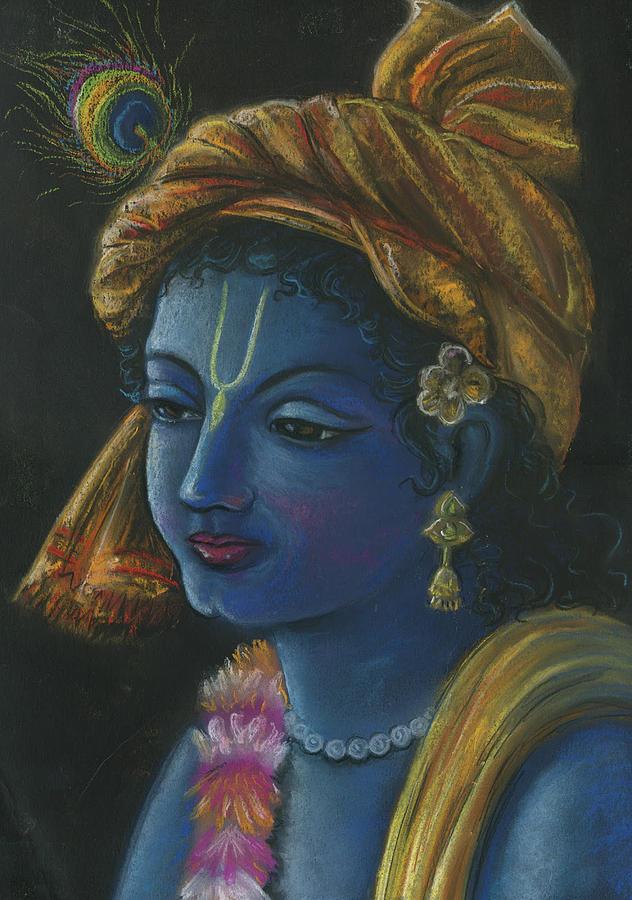 Portrait Pastel - Hare Krishna by Prakash Leuva