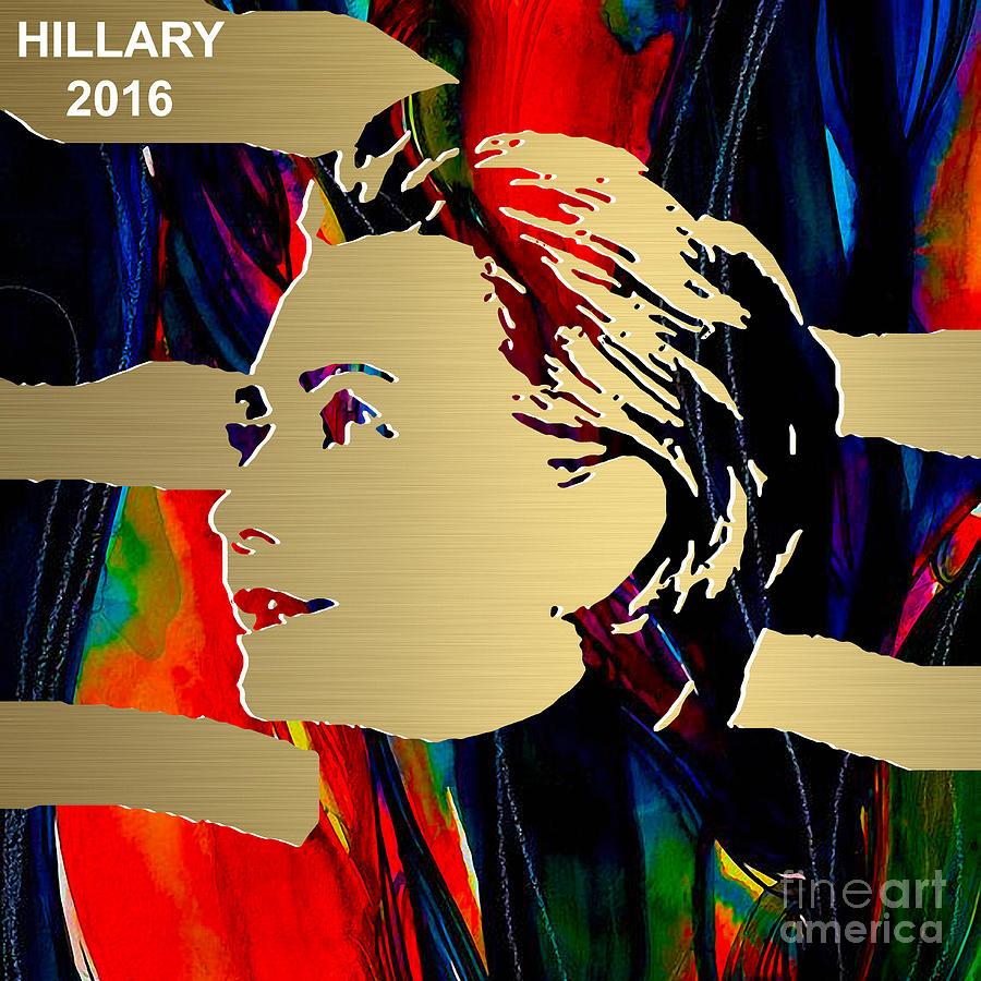 Bill Clinton Mixed Media - Hillary Clinton Gold Series by Marvin Blaine