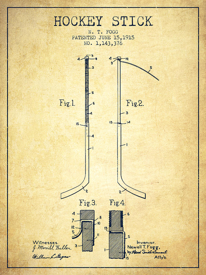 Hockey Drawing - Hockey Stick Patent Drawing From 1915 by Aged Pixel