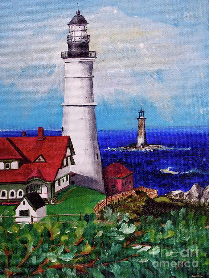 Lighthouse Painting - Lighthouse Hill by Linda Simon