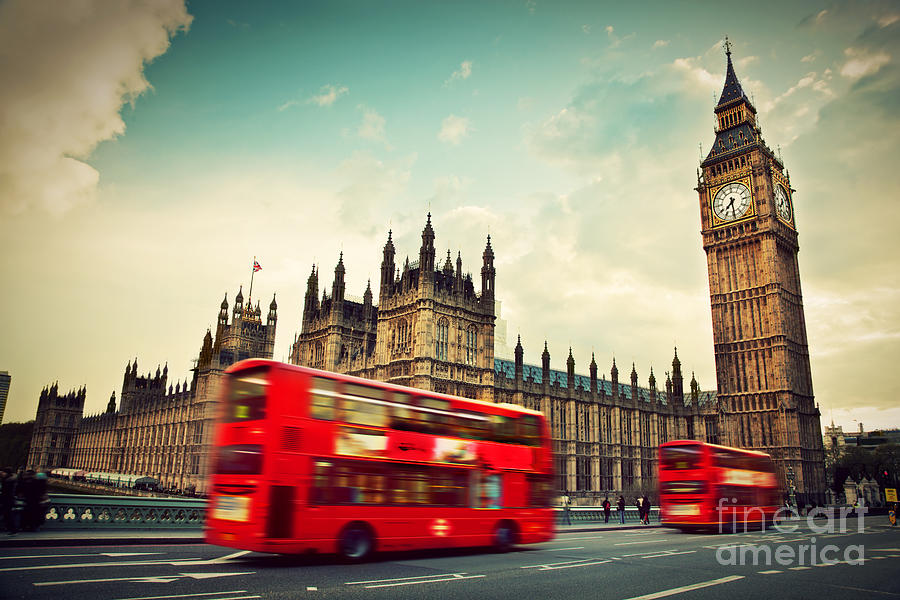London Photograph - London Uk Red Bus In Motion And Big Ben by Michal Bednarek