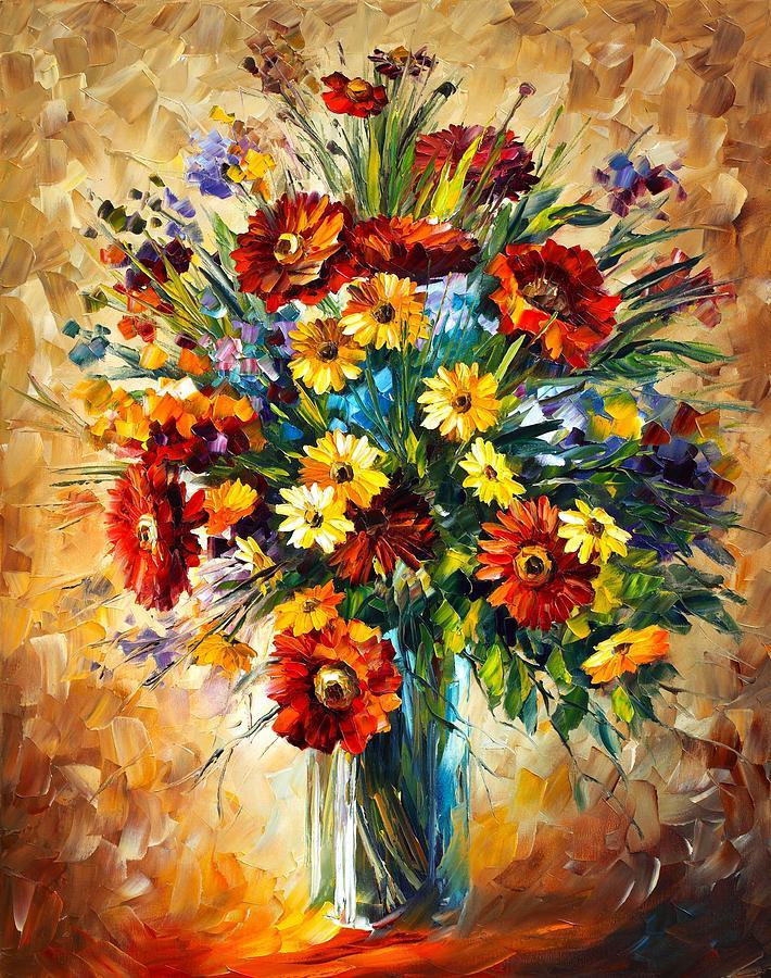 Afremov Painting - Magic Flowers by Leonid Afremov