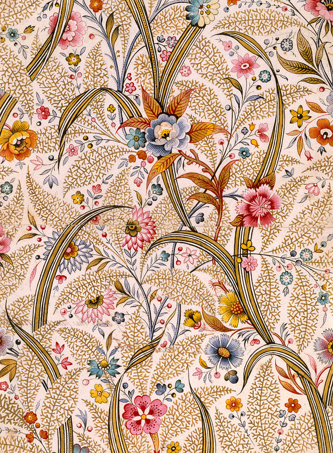 Book Binding; Cover; Endpaper; Floral Pattern; Chintz; Design; 19th; 18th Drawing - Marble End Paper  by William Kilburn