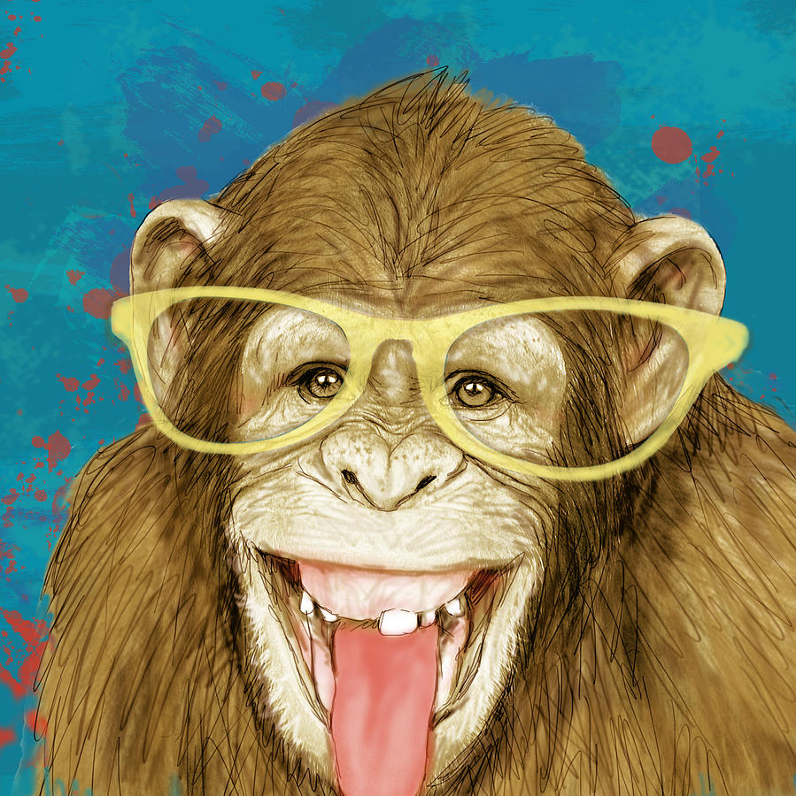 Monkey Stylised Drawing Art Poster