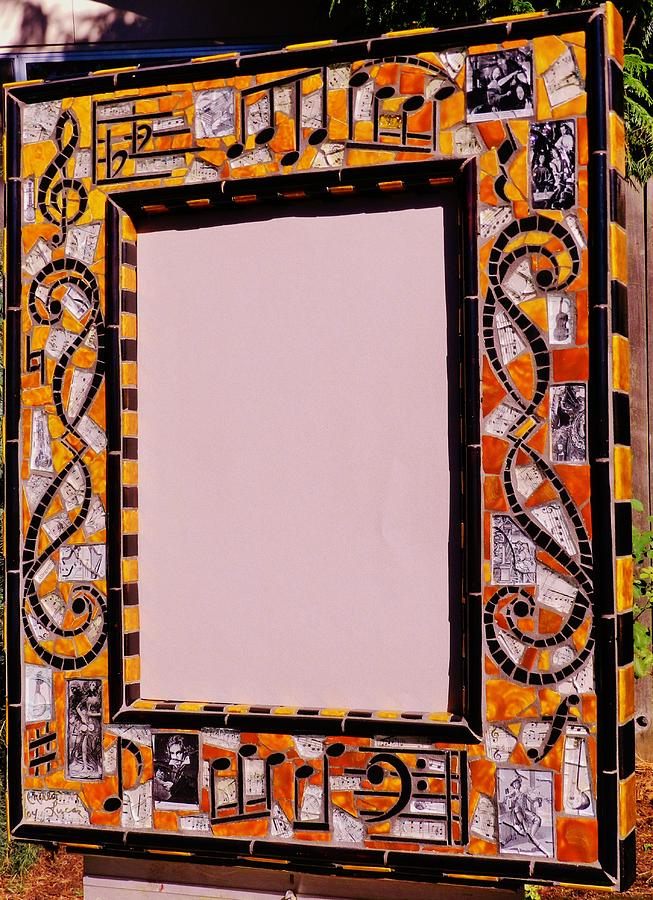 Mosaic Music Mirror Frame Ceramic Art by Charles Lucas