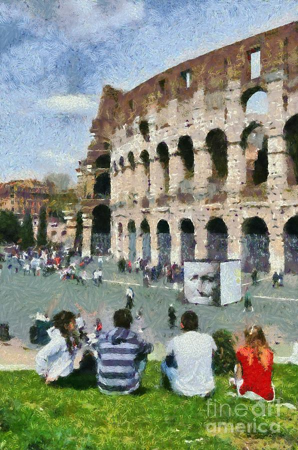 Colosseum Painting - Outside Colosseum In Rome by George Atsametakis