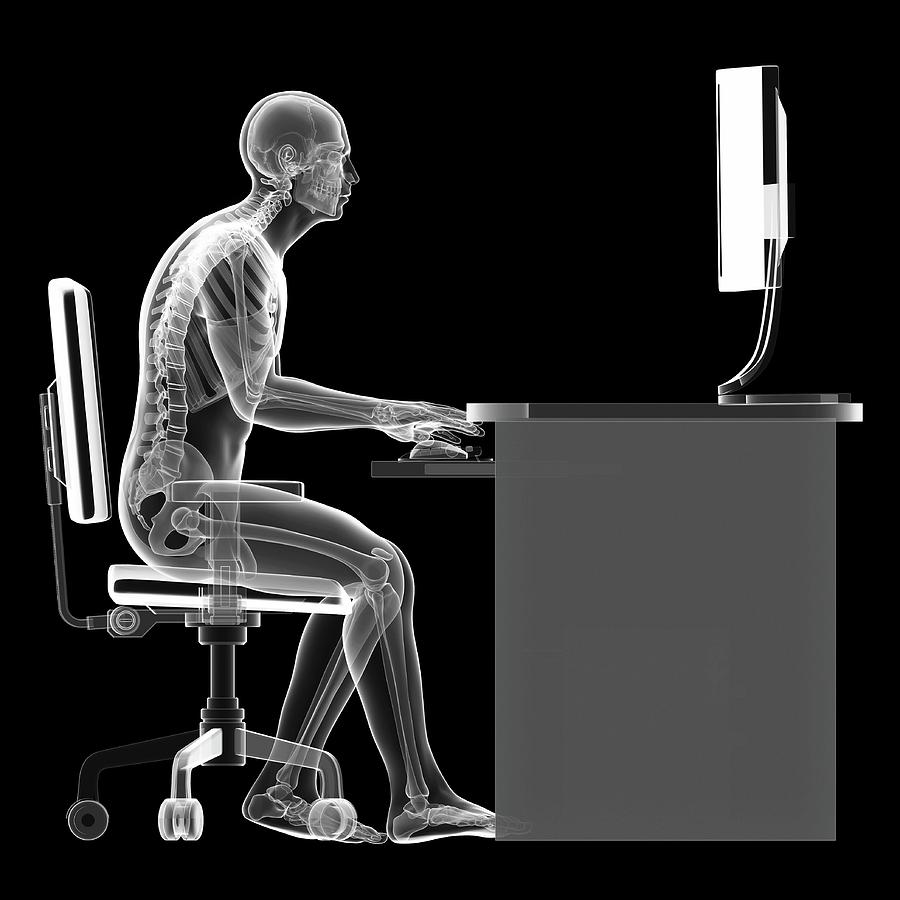3 Dimensional Photograph - Person Sitting With Incorrect Posture by Sebastian Kaulitzki